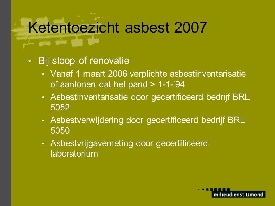 Ketentoezicht asbest 2007 Bij sloop of renovatie