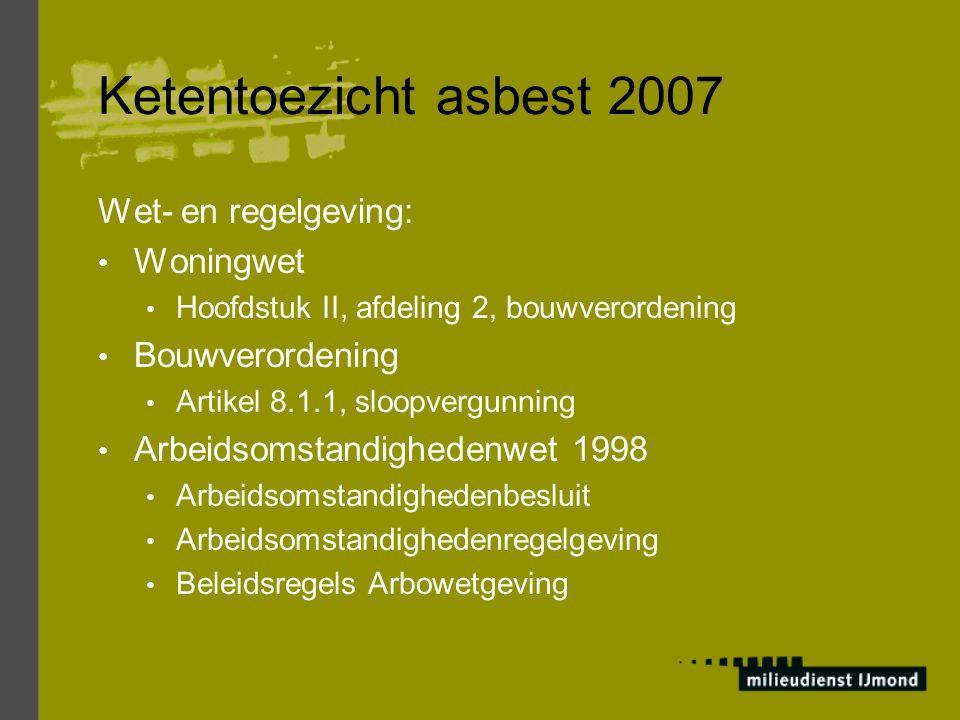 Ketentoezicht asbest 2007 Wet- en regelgeving: Woningwet