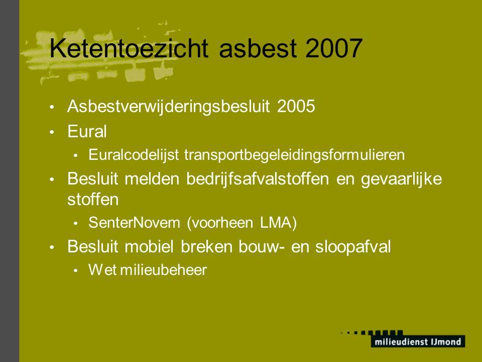 Ketentoezicht asbest 2007 Asbestverwijderingsbesluit 2005 Eural