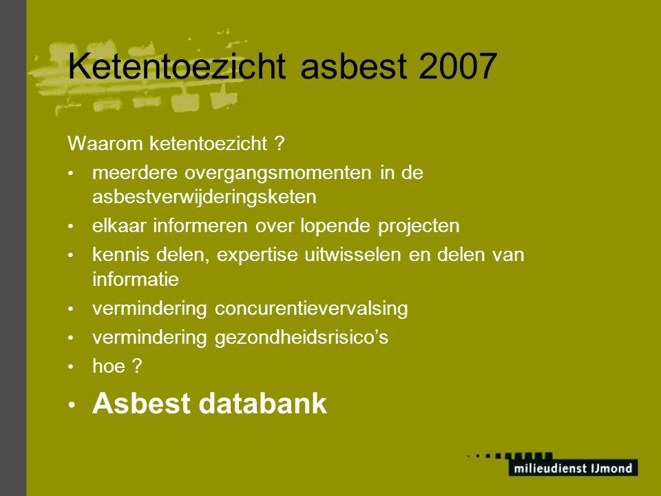 Ketentoezicht asbest 2007 Asbest databank Waarom ketentoezicht
