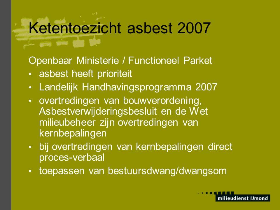 Ketentoezicht asbest 2007 Openbaar Ministerie / Functioneel Parket