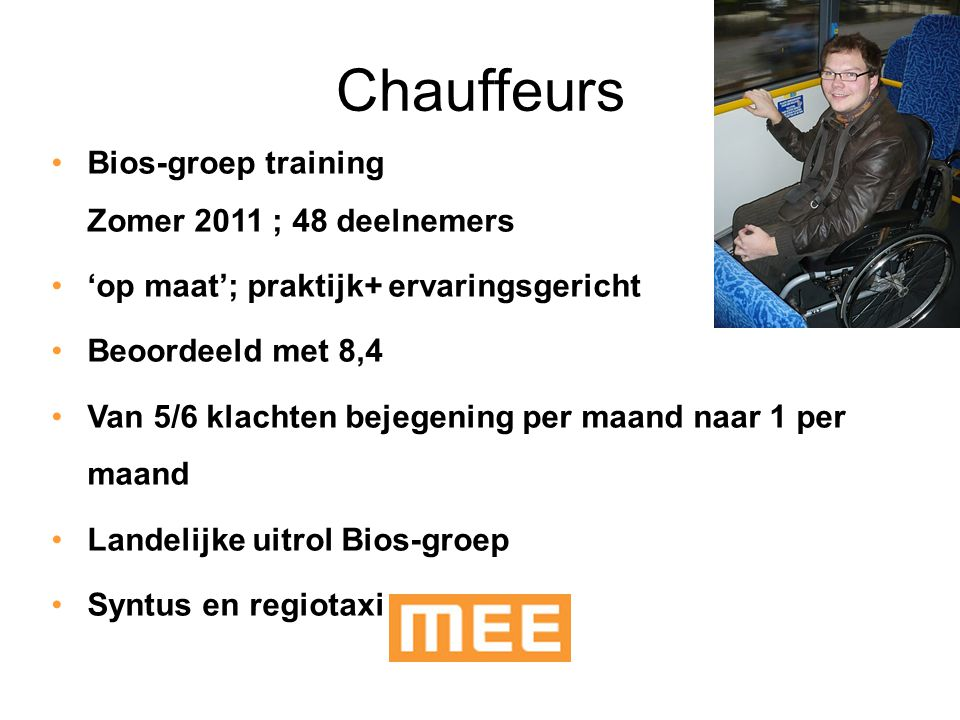 Chauffeurs Bios-groep training Zomer 2011 ; 48 deelnemers