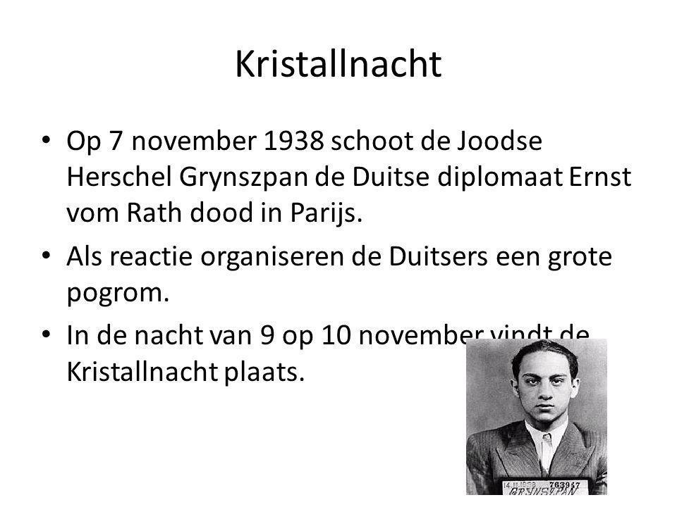 Kristallnacht Op 7 november 1938 schoot de Joodse Herschel Grynszpan de Duitse diplomaat Ernst vom Rath dood in Parijs.