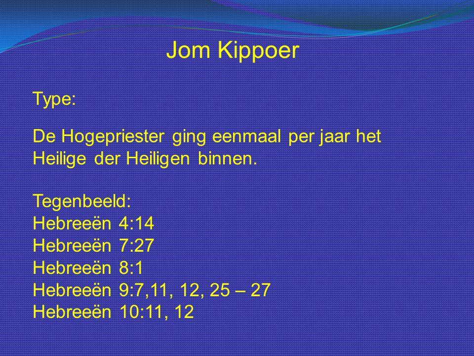 Jom Kippoer Type: De Hogepriester ging eenmaal per jaar het Heilige der Heiligen binnen.
