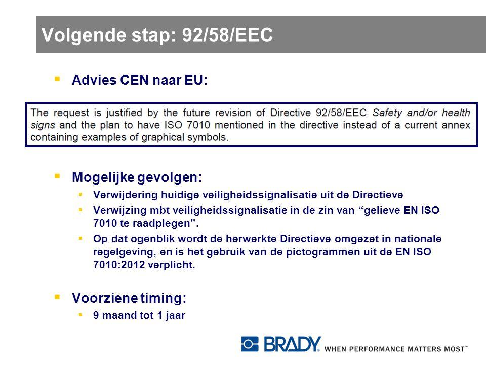 Volgende stap: 92/58/EEC Advies CEN naar EU: Mogelijke gevolgen: