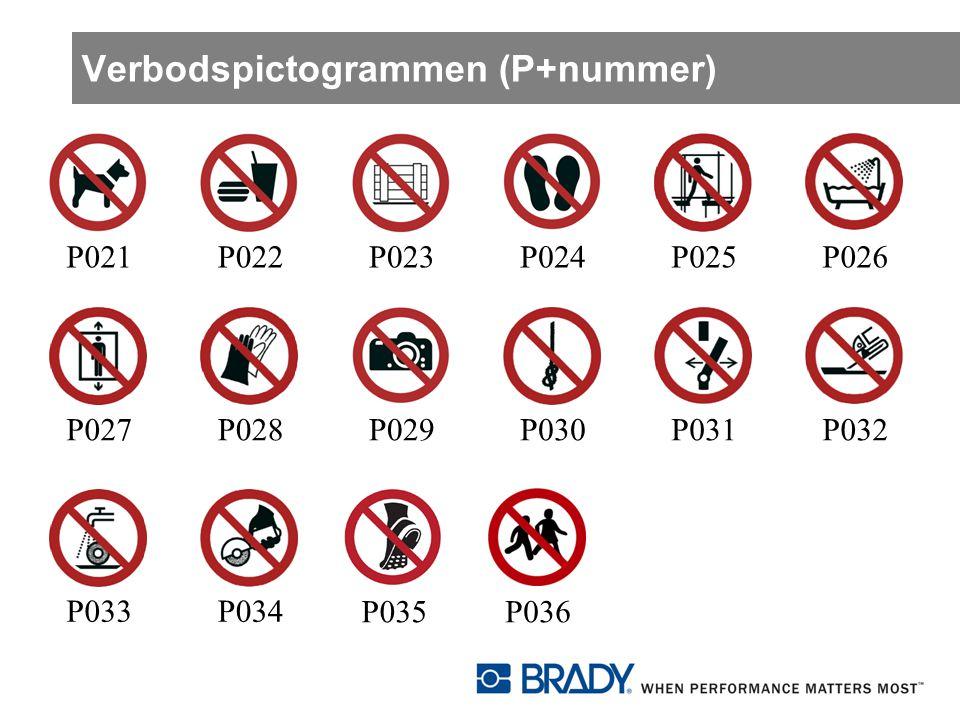 Verbodspictogrammen (P+nummer)