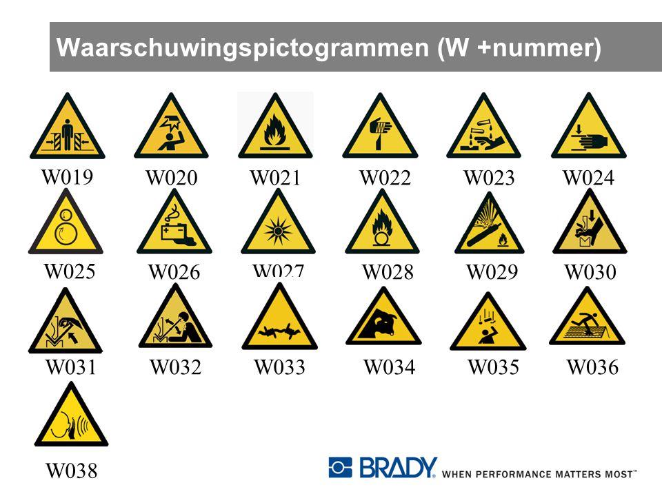 Waarschuwingspictogrammen (W +nummer)