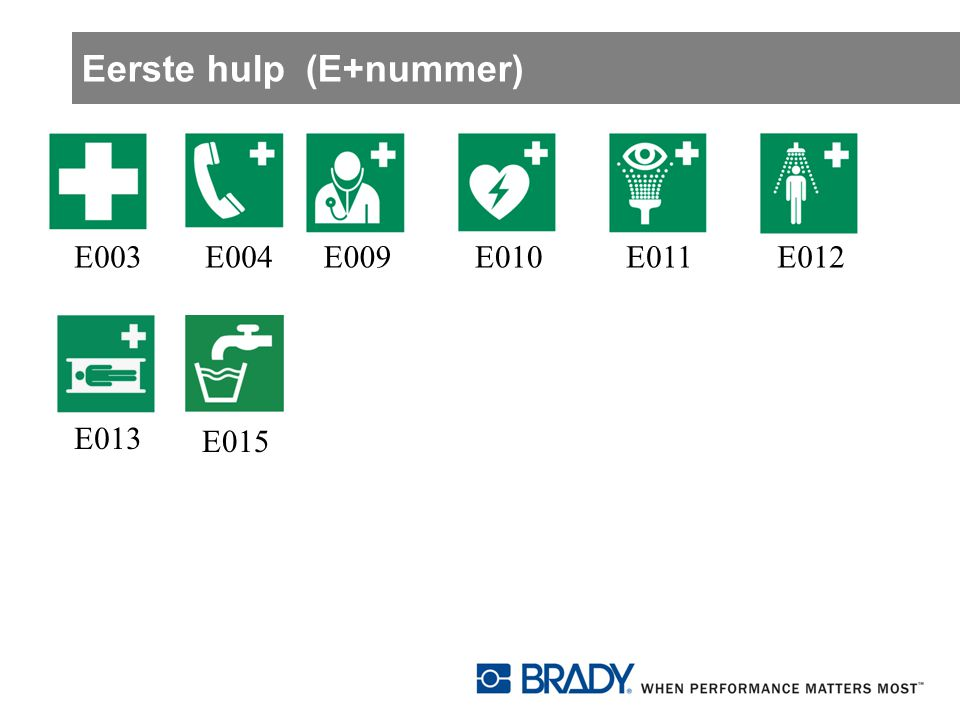 Eerste hulp (E+nummer)