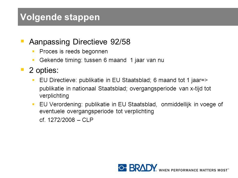 Volgende stappen Aanpassing Directieve 92/58 2 opties: