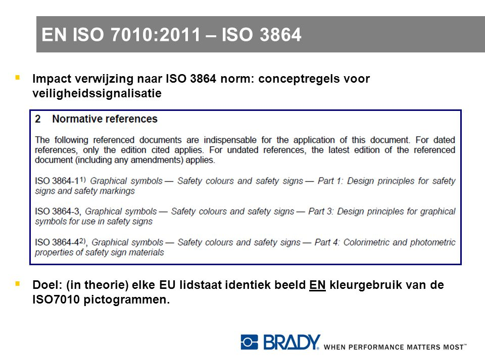 EN ISO 7010:2011 – ISO 3864 Impact verwijzing naar ISO 3864 norm: conceptregels voor veiligheidssignalisatie.