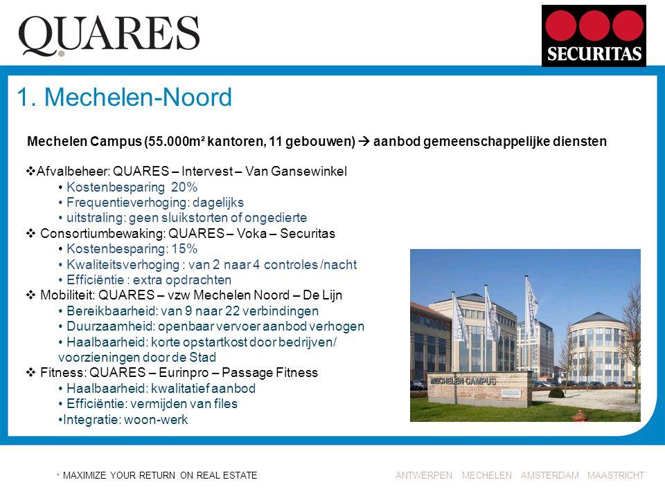 1. Mechelen-Noord Mechelen Campus (55.000m² kantoren, 11 gebouwen)  aanbod gemeenschappelijke diensten.