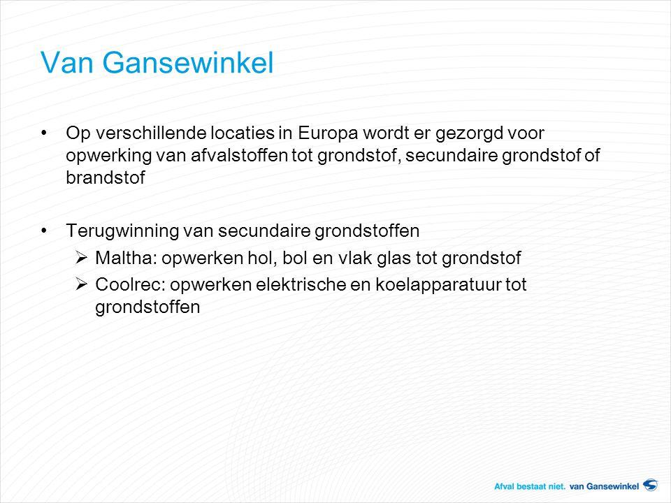 Van Gansewinkel Op verschillende locaties in Europa wordt er gezorgd voor opwerking van afvalstoffen tot grondstof, secundaire grondstof of brandstof.