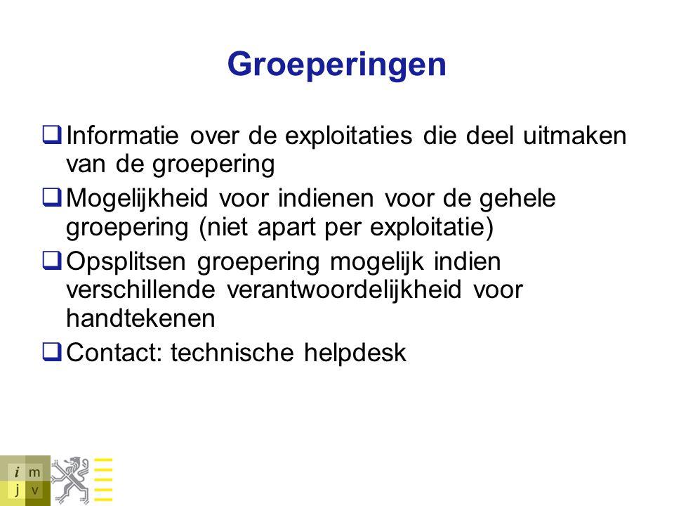 Groeperingen Informatie over de exploitaties die deel uitmaken van de groepering.