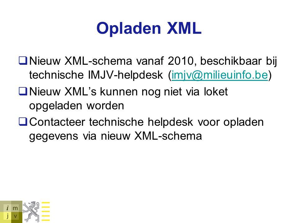 Opladen XML Nieuw XML-schema vanaf 2010, beschikbaar bij technische IMJV-helpdesk (imjv@milieuinfo.be)