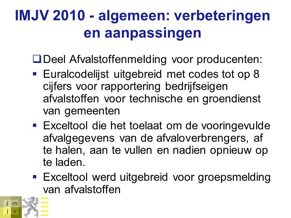 IMJV 2010 - algemeen: verbeteringen en aanpassingen