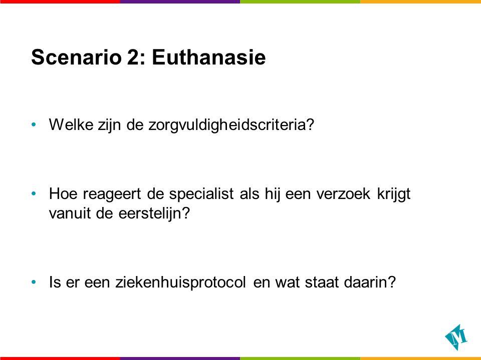 Scenario 2: Euthanasie Welke zijn de zorgvuldigheidscriteria