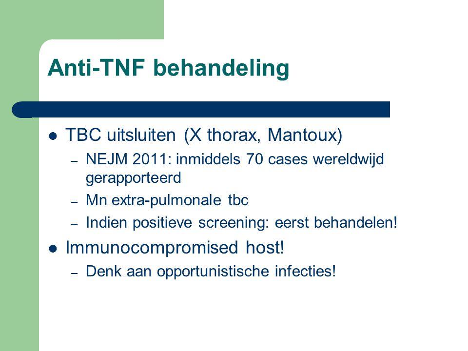 Anti-TNF behandeling TBC uitsluiten (X thorax, Mantoux)