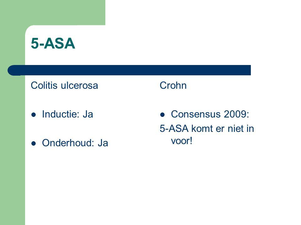 5-ASA Colitis ulcerosa Inductie: Ja Onderhoud: Ja Crohn