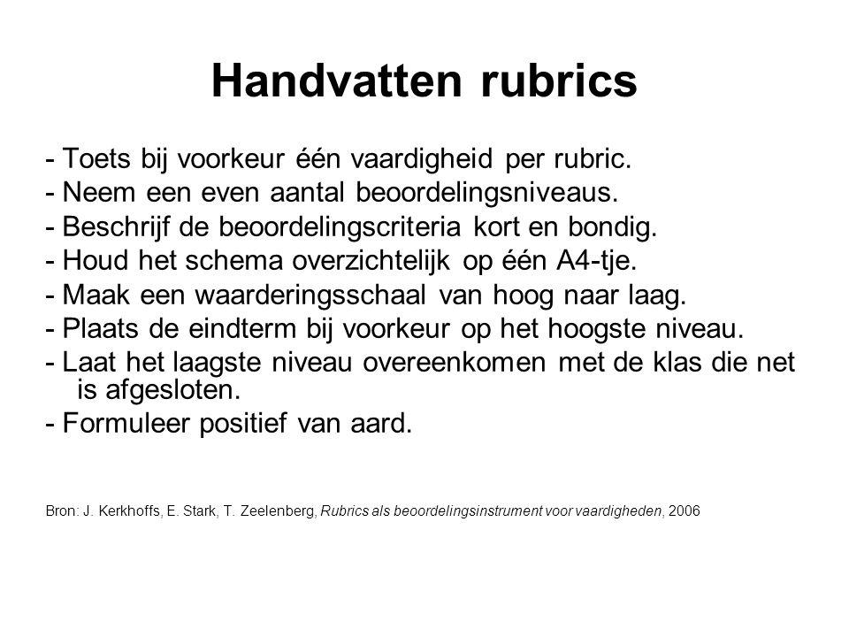 Handvatten rubrics - Toets bij voorkeur één vaardigheid per rubric.