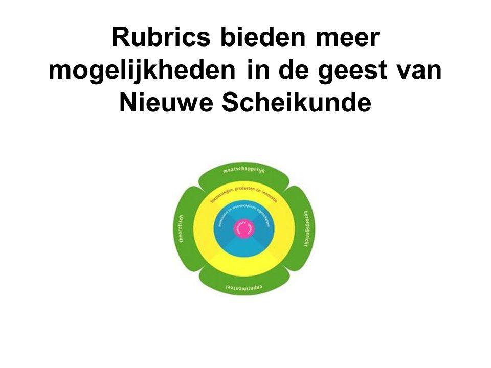Rubrics bieden meer mogelijkheden in de geest van Nieuwe Scheikunde