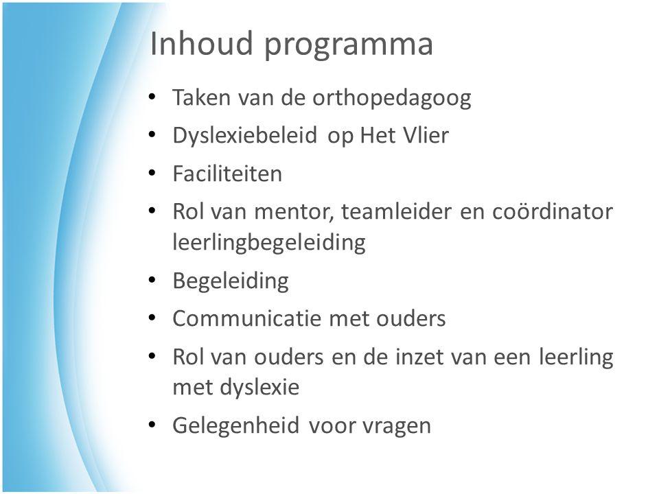 Inhoud programma Taken van de orthopedagoog