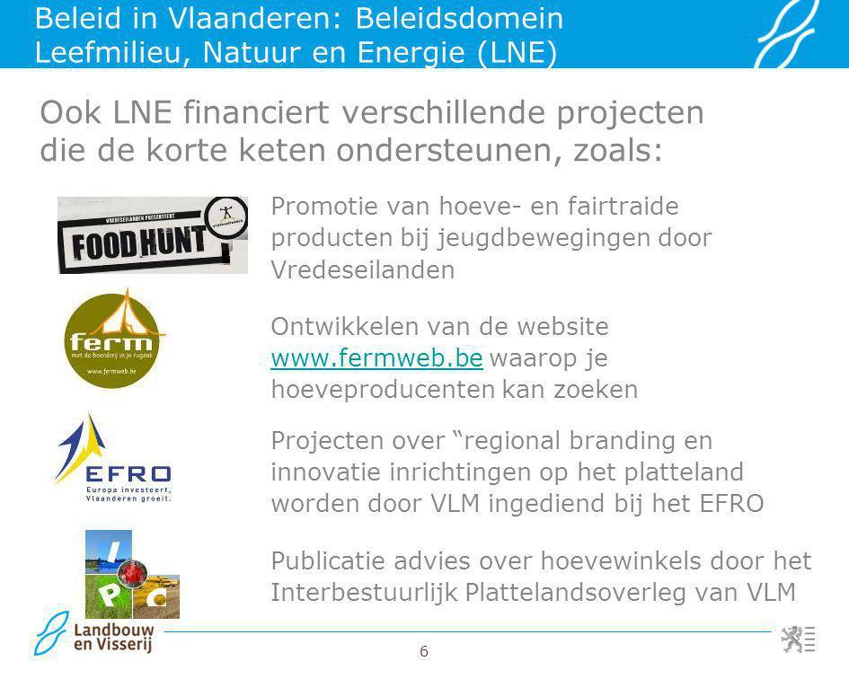 Beleid in Vlaanderen: Beleidsdomein Leefmilieu, Natuur en Energie (LNE)
