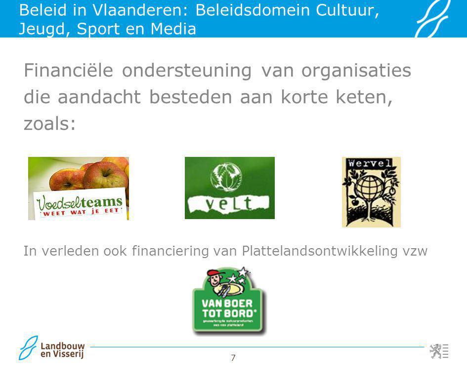 Beleid in Vlaanderen: Beleidsdomein Cultuur, Jeugd, Sport en Media