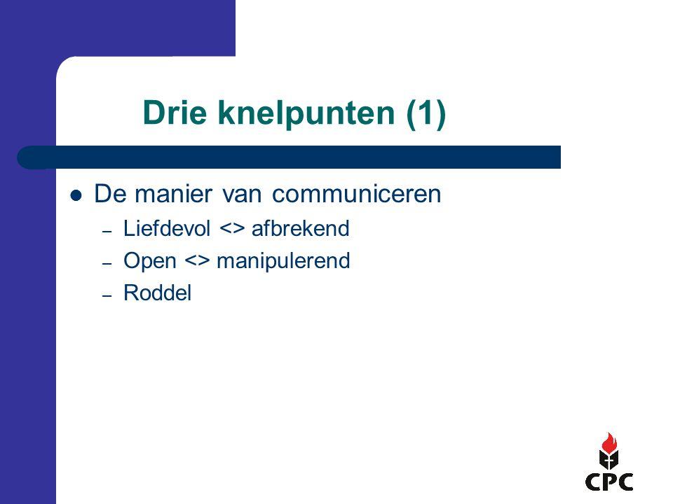 Drie knelpunten (1) De manier van communiceren