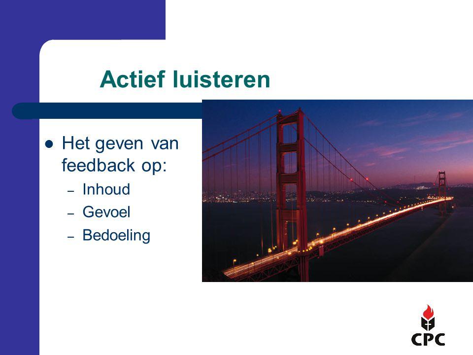 Actief luisteren Het geven van feedback op: Inhoud Gevoel Bedoeling