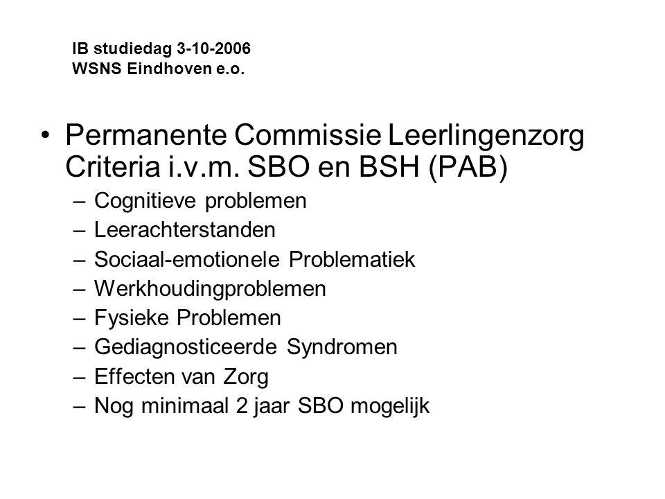 Permanente Commissie Leerlingenzorg Criteria i.v.m. SBO en BSH (PAB)