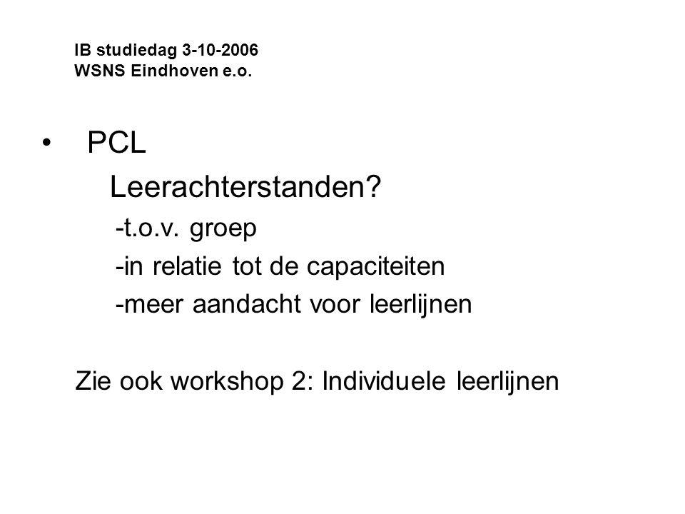 PCL Leerachterstanden -t.o.v. groep -in relatie tot de capaciteiten