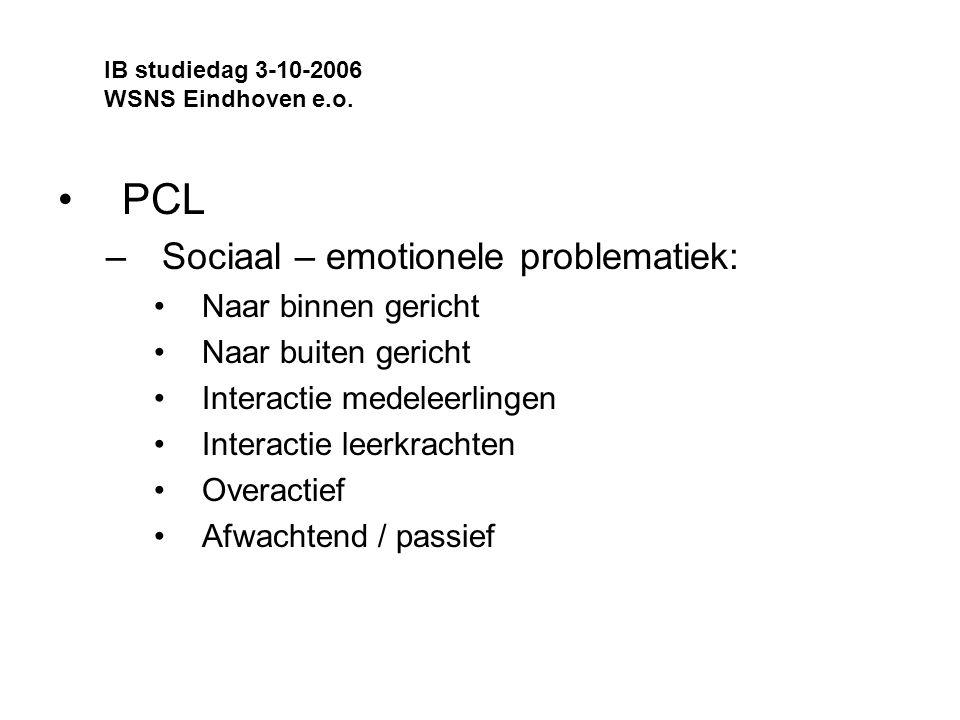 PCL Sociaal – emotionele problematiek: Naar binnen gericht