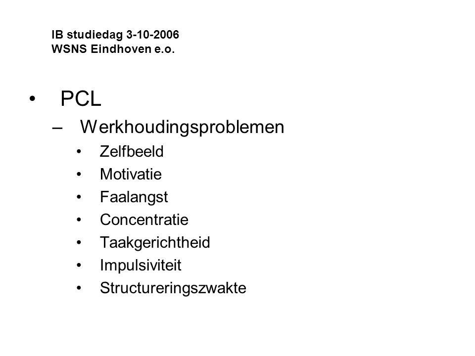 PCL Werkhoudingsproblemen Zelfbeeld Motivatie Faalangst Concentratie