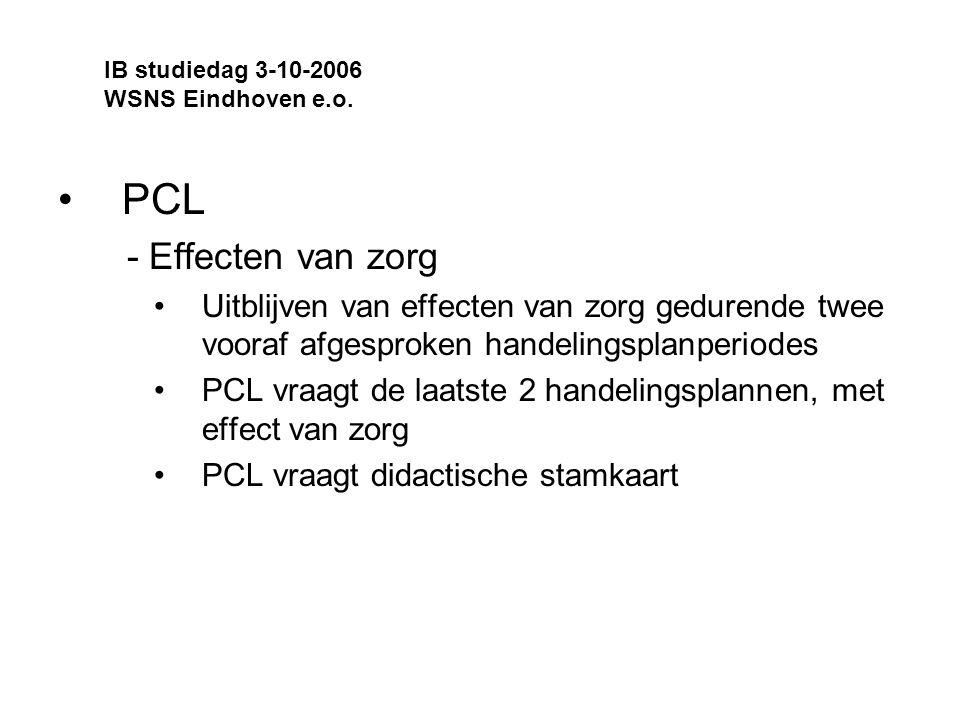 IB studiedag 3-10-2006 WSNS Eindhoven e.o. PCL. - Effecten van zorg.