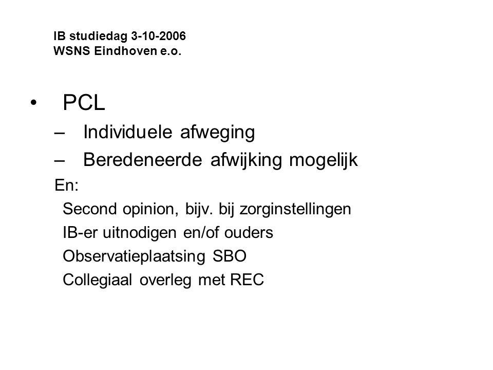 PCL Individuele afweging Beredeneerde afwijking mogelijk En: