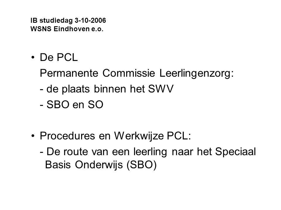 Permanente Commissie Leerlingenzorg: - de plaats binnen het SWV