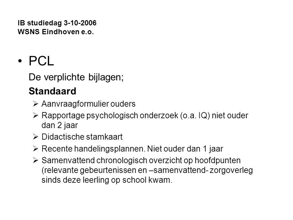 IB studiedag 3-10-2006 WSNS Eindhoven e.o.