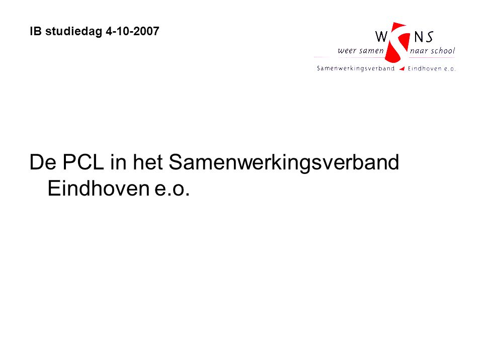De PCL in het Samenwerkingsverband Eindhoven e.o.