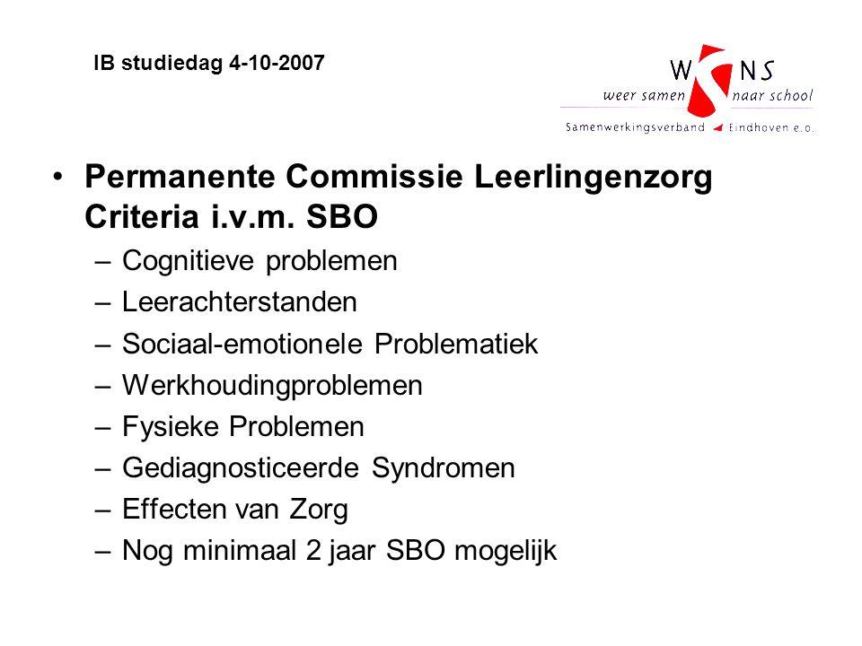 Permanente Commissie Leerlingenzorg Criteria i.v.m. SBO