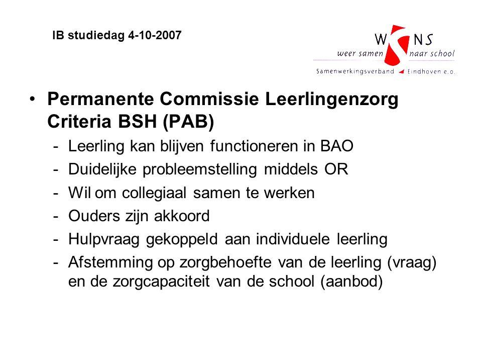 Permanente Commissie Leerlingenzorg Criteria BSH (PAB)
