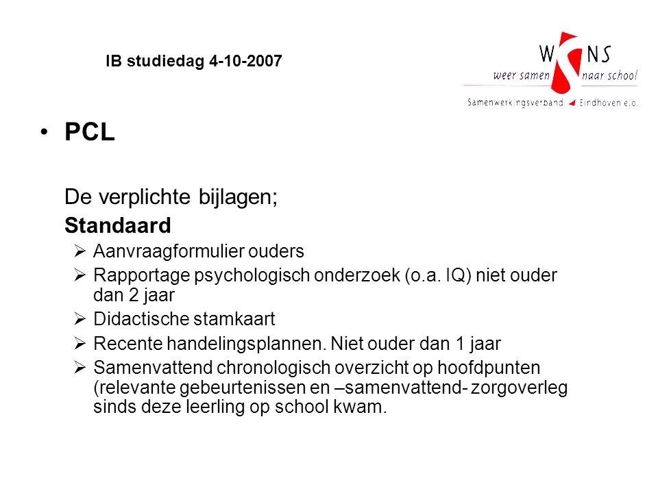 PCL De verplichte bijlagen; Standaard Aanvraagformulier ouders