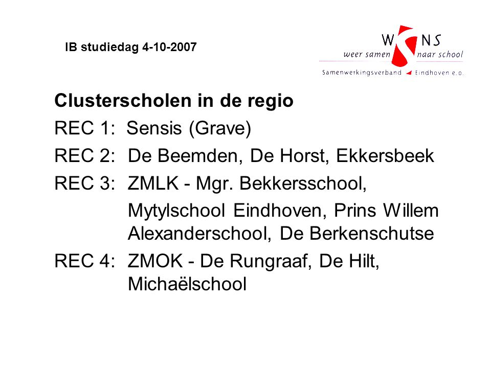 Clusterscholen in de regio REC 1: Sensis (Grave)