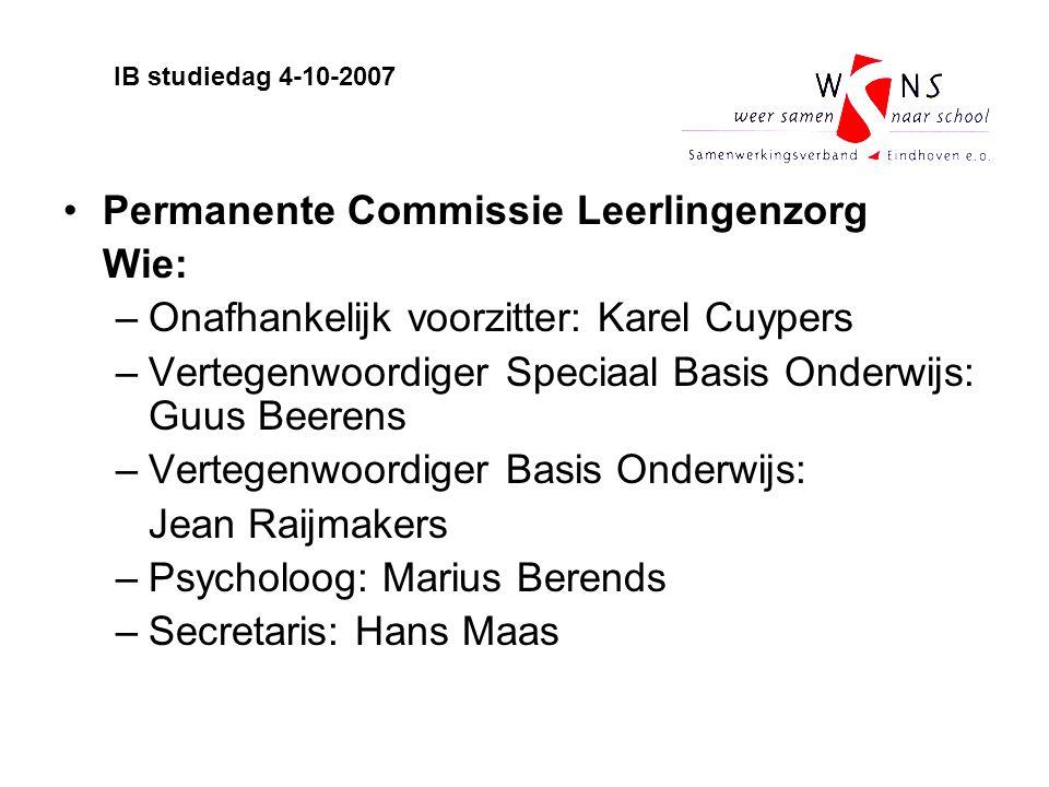 Permanente Commissie Leerlingenzorg Wie: