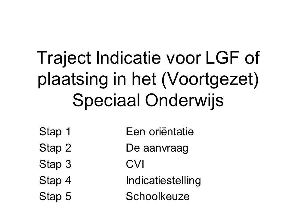 Traject Indicatie voor LGF of plaatsing in het (Voortgezet) Speciaal Onderwijs