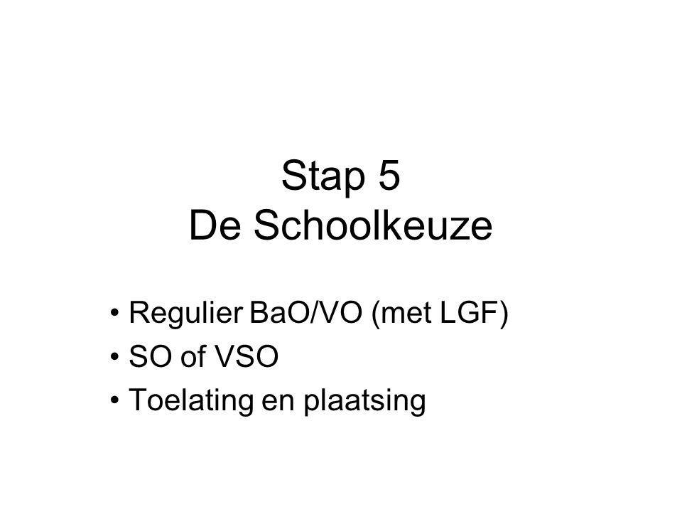 Regulier BaO/VO (met LGF) SO of VSO Toelating en plaatsing