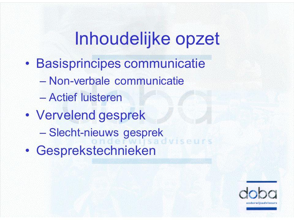 Inhoudelijke opzet Basisprincipes communicatie Vervelend gesprek