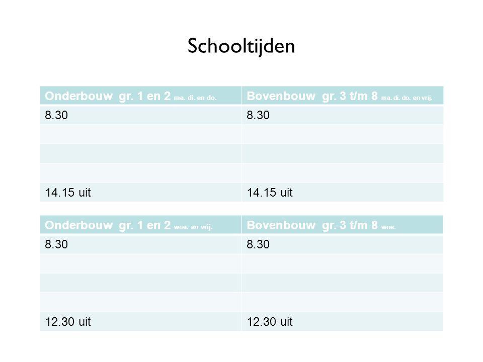Schooltijden Onderbouw gr. 1 en 2 ma. di. en do.
