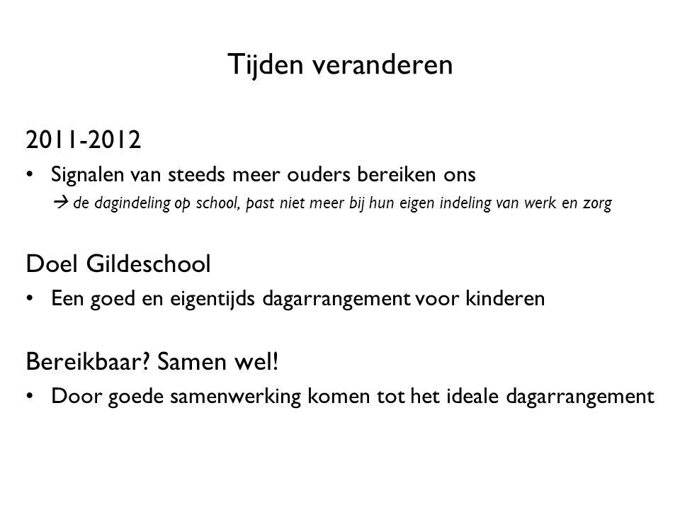 Tijden veranderen 2011-2012 Doel Gildeschool Bereikbaar Samen wel!