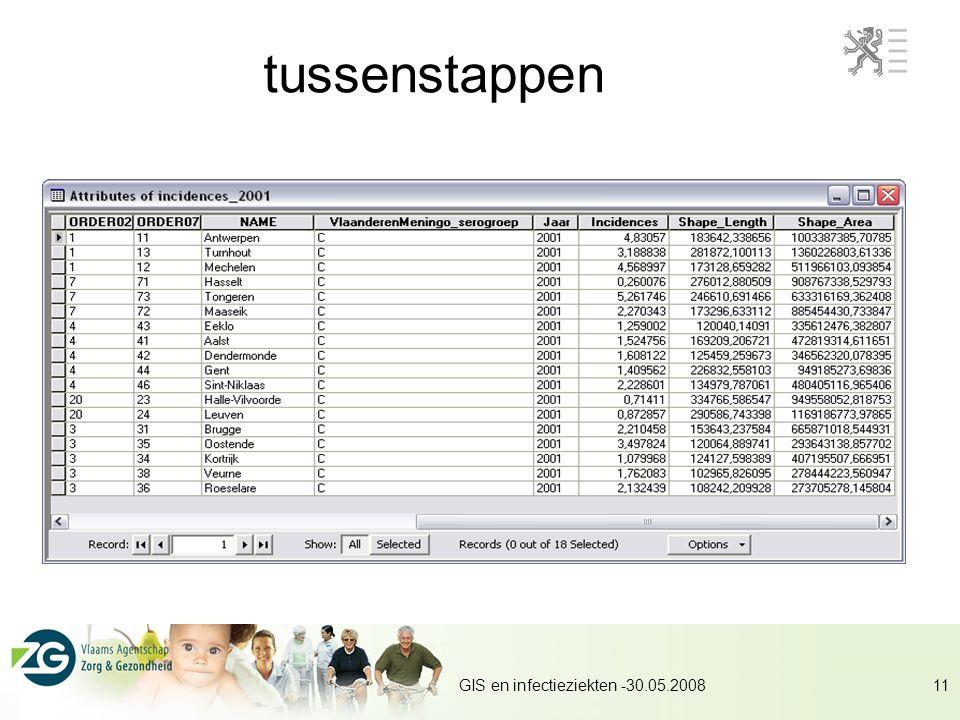 tussenstappen GIS en infectieziekten -30.05.2008