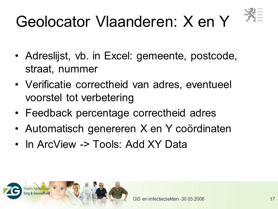 Geolocator Vlaanderen: X en Y